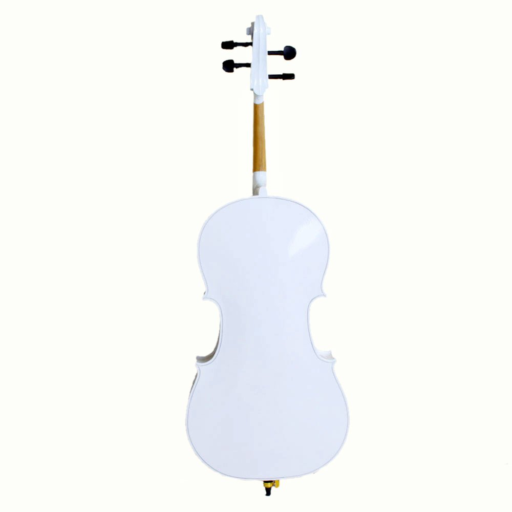 4/4 Acoustic Cello + Case + Bow + Rosin Wood Color Beautiful Varnish Finishing (White) by Lykos (Image #2)