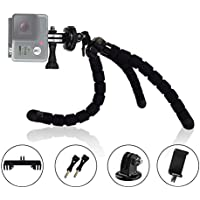 MiPremium ProFlexPod S1 Flexible Tripod stand kit with (FREE Tripods Adapter, Dual Mount, Smartphone Clip), Bendy Spider Tripod for GoPro Hero Session Black Silver, Smartphones & Action Sports Cameras