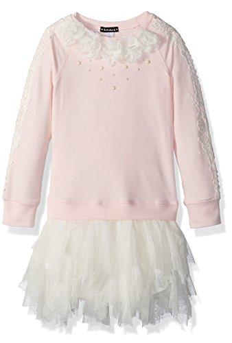 Kate Mack Girls' Big Gateau Rose Sweatshirt Dress with Netting Skirt, Pink, 7