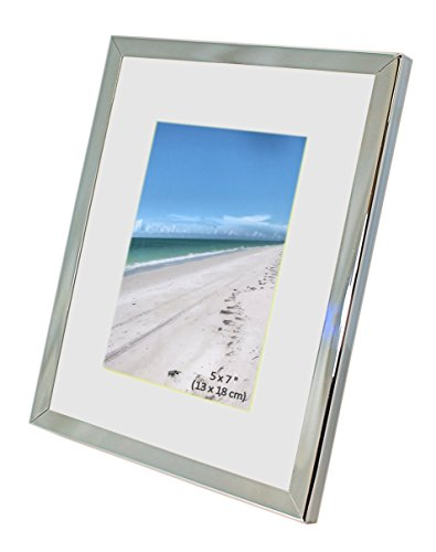 Shiny Silver Frame (Iron Nickel Plated Shiny Dark Silver Color Photo Frame With Removable Mount - Takes A Photo Of 5 x 7 Inches (13 x 18 cm) - Or 8 x 10 Inches (20 x 25cm) With Mount Removed.)