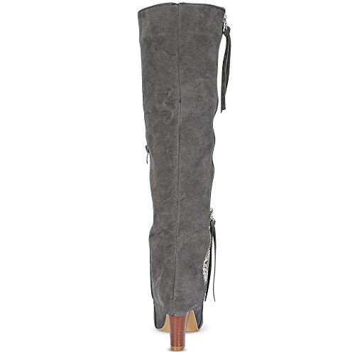 Sexy Haute Mode Botte Rosegal Talon Boots Éclair Gris Chic Fermeture Hiver Femme Bloc H800Zqw5