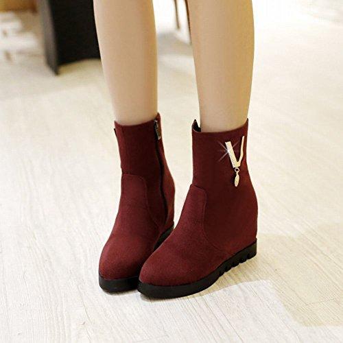 Latasa Womens Faux Nubuck Inside Wedges Boots Dark Red ief6AAq5
