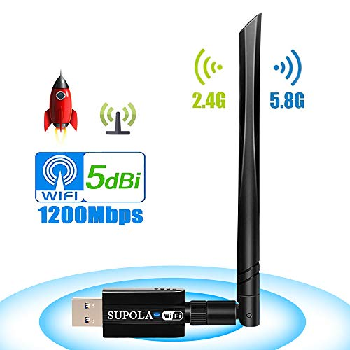 USB Wireless Adapter 1200Mbps, USB Wifi Adapter 5.8GHz/2.4GHz PC Wifi Adapter Dual Band 802.11ac Wireless Desktop Adapter with 5dBi External Antenna, Support Windows 10/8/8.1/7/XP, Mac OS X 10.6-10.14 from SUPOLA