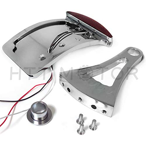 HTT Motorcycle Chrome Curved Side Mounted License Plate Bracket w/ LED Tail Light Brake Light 7/8