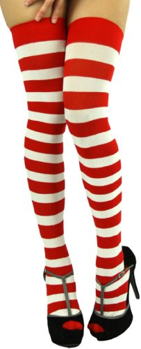 ToBeInStyle Women's Wide Vertical Striped Thigh Hi Stockings Free, Red White (Red Opaque Thigh High Stockings)