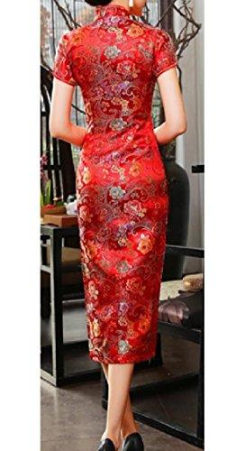 Jaycargogo Femmes Robe Crayon Rétro Floral Cheongsam Robe De Satin Imprimé 2