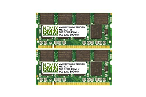 2GB (2X1GB) DDR2 400MHz PC2-3200 200-pin SODIMM Laptop Memory RAM