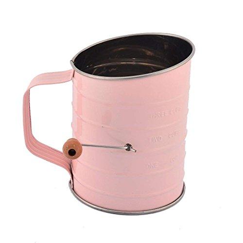 SaimFlour Sifter Stainless Steel Fine Wood Knob Handle Kitchen Baking Hand Crank 3-Cup Lightweight Sifter Sieve, Pink by Saim