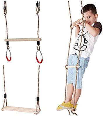 Kids Climbing Rope Ladder Trapeze Bar with Rings and Hanging Swings Seat Bundle