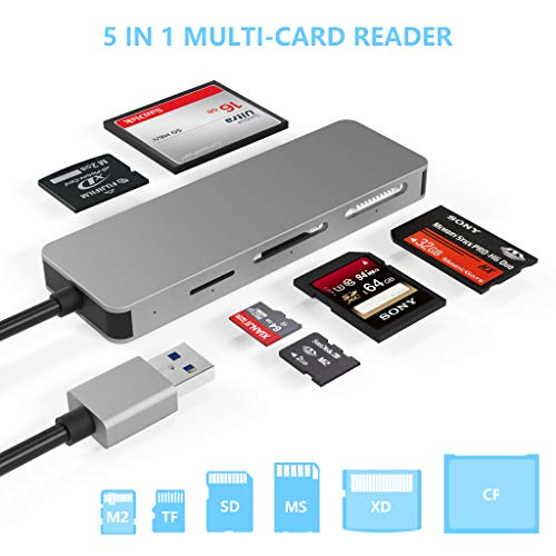 USB3.0 Card Reader, Cateck 6 in 1 Aluminum Card Reader, USB 3.0 (5Gps) High Speed TF/SD/MS/M2/XD/CF Memory Card Solt Combo Adapter, Compatible with Windows XP/Vista / 7/8 / 8.1/10, Mac OS, Linux,