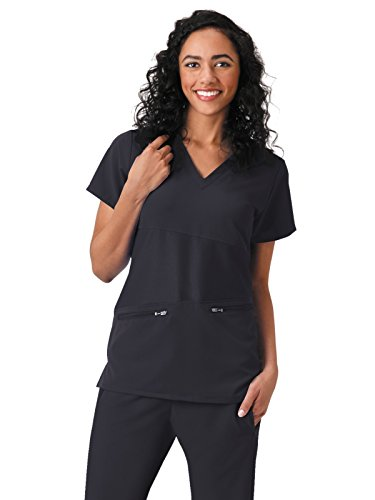Jockey Scrubs Women's Conquer The Day V-Neck Solid Scrub Top_ET Black_XL,2445