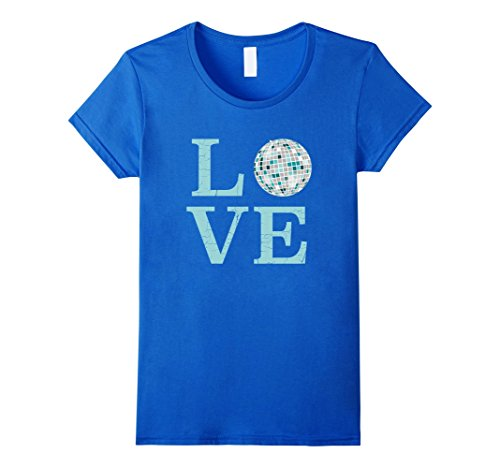 Boogie Queen Disco Costumes (Womens Retro I Love Disco T-Shirt-Mirror Ball Throwback Tee XL Royal Blue)