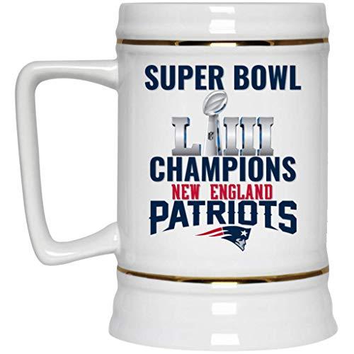 (New England Patriots Beer Mug | Patriots Mug | Super Bowl 53 LIII Champions New England Patriots | 22 oz White Ceramic Beer Stein | NFL AFC | Perfect Unique)