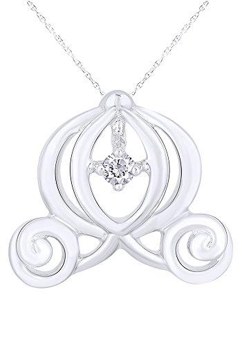Wishrocks Diamond Cinderella Carriage Dancing Diamond Pendant Necklace 14K White Gold Over Sterling Silver