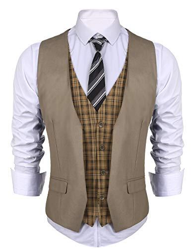 COOFANDY Men's Dress Suit layered Vest V Neck Plaid Patchwork Wedding Waistcoat, Khaki, Small]()