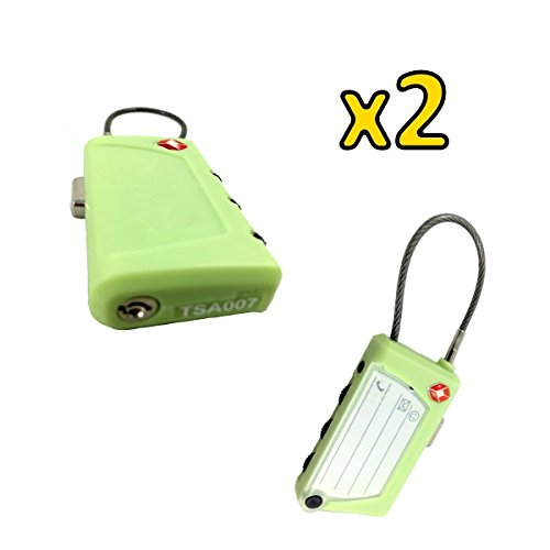 YISAMA Vorhaengeschloss mit Kabel und Etikette + Etiketten der Ersatzteile Dreistellige Verschluesselung 3 TSA(Packung von 2). Travel Cable Lock