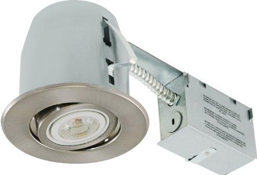 Liteline RC402C18R-LED-PW-BN All-in-One 4-inch LED Recessed Combo with Remodel Housing, 8W LED PAR20 lamp, Gimbal Trim, Brushed Nickel