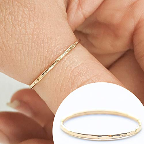 (Stacking Ring 14k Gold Filled, Dainty Little Plain Band, Size 7)