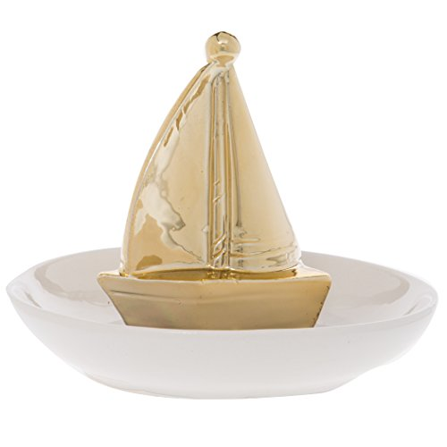 Home Essentials 78007 Gold Sailboat Trinket Tray ()