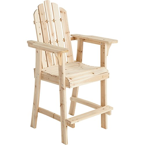 Balcony Tall / Counter High Adirondack Chair with Footrest - Natural Wood Product SKU: PF09104
