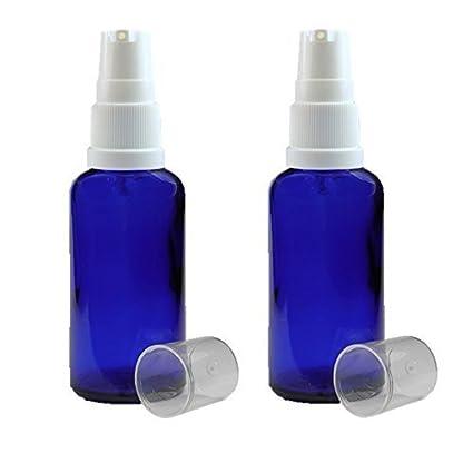 2 x 50ml Vidrio azul Aromaterapia Frasco con BLANCO tratamiento/bomba de suero/loción