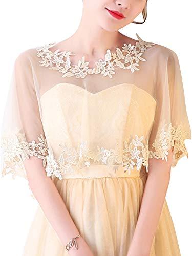 Bridal Embroidered Lace Appliques Shrug Wedding Shawl Wrap Bolero,Champagne ()