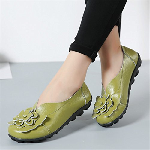 Casual Soft Green Shoes Outdoor Lazy Loafers Handmade Socofy Flower Slip Women's Decoration On Leather Flat vBwfC1wq