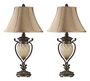 Signature Design By Ashley L531914 Gavivi Table Lamps, Set Of 2, Dark Brown