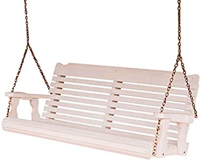 Amish Heavy Duty 800 Lb Classic Treated Porch Swing with Hanging Chains and Cupholders (5 Foot, Semi-Solid White Stain)