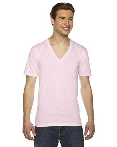 Unisex Fine Jersey - American Apparel 2456W Unisex Fine Jersey Short-Sleeve V-Neck T-Shirt Light Pink 2XL