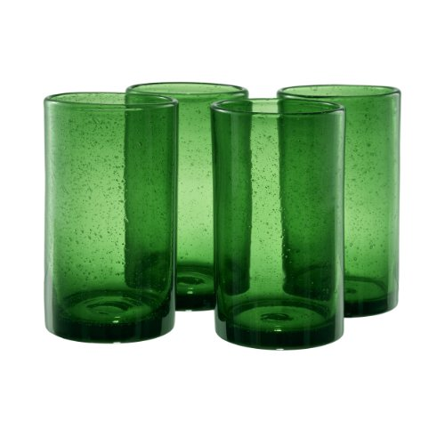 Green Glass Goblet - Artland Iris Highball Glasses, Green, Set of 4
