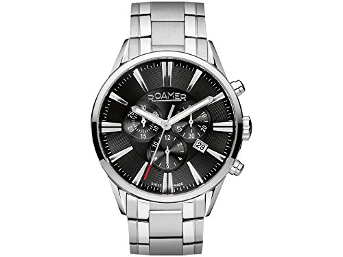 Roamer Superior Men's Quartz Watch with Black Dial Chronograph Display and Silver Stainless Steel Bracelet 508837 41 55 50