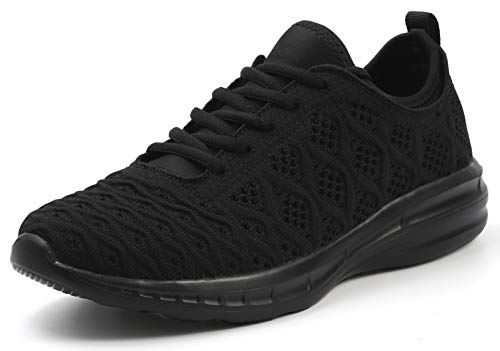 JOOMRA Women Work Shoes All Black Casual Ladies Lightweight Summer Fashion Exercise Walking Sport Athletic Tennis Sneakers Size 6.5 (Best Work Shoes For Women)