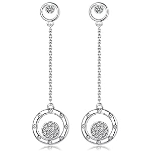 KesaPlan 18K Platinum Plated Crystal Circle Drop Dangle Earrings for Women S925 Pin Symbolizing the Shape of the Planet…