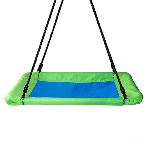 Play Platoon Outdoor Tree Swing for Kids & Adults - Rectangle Swing 40 x 30 Inches, Fully Assembled, 600 lb Weight Capacity, Easy to Install, Green & Blue by Play Platoon