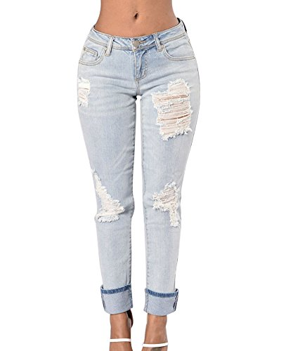 Pantaloni Dritto Donna Hjblu Media Vita Casuale Strappato Up Push A Jeans qtqRwfxZp