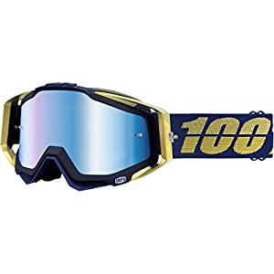 100% Racecraft Men's Off-Road/Dirt Bike Motorcycle Goggles Eyewear - Black Blue Gold/Mirror Blue / One Size