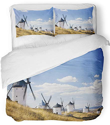Emvency Bedsure Duvet Cover Set Closure Printed Decorative Landmark Windmills Consuegra Castile La Mancha Spain Architecture Building Mill Breathable Bedding Set With 2 Pillow Shams Full/Queen Size by Emvency