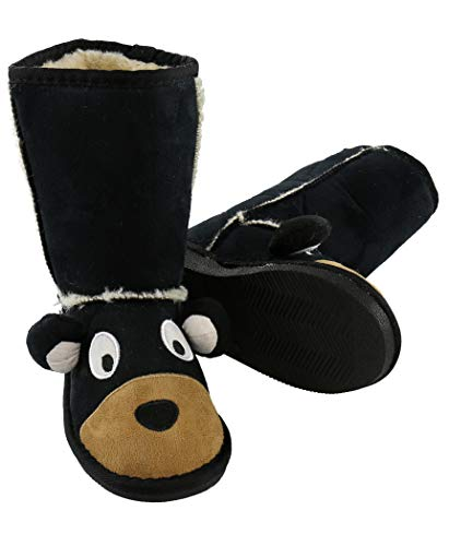Bear Boot Cute Animal Character Slippers for Kids by LazyOne | Boys and Girls Creature Slipper Boots (Small)
