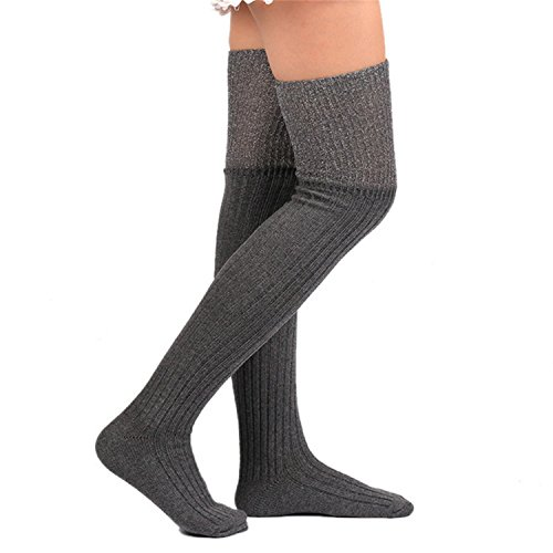 Price comparison product image JIANGTAOLANG Women Winter Warm Solid Leg Warmers Knitting High Over Knee Socks