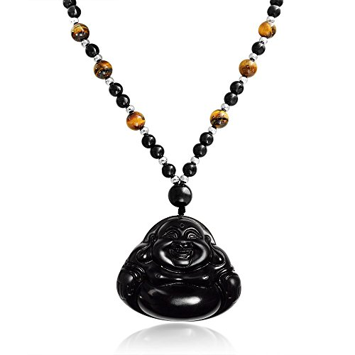 - Brown Black Bead Carved Long Large Laughing Obsidian Boho Fashion Statement Buddha Pendant Necklace for Women for Men