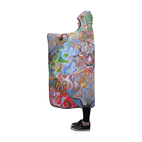 VNASKL Hooded Blanket And Texture Pattern Structure Area Blanket 60x50 Inch Comfotable Hooded Throw (Free Fleece Poncho Patterns)