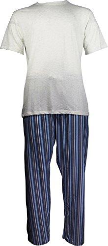 Hanes - Mens Short Sleeve Top and Woven Pant Pajama Set, Natural, Blue - Short Top Woven Mens Sleeve