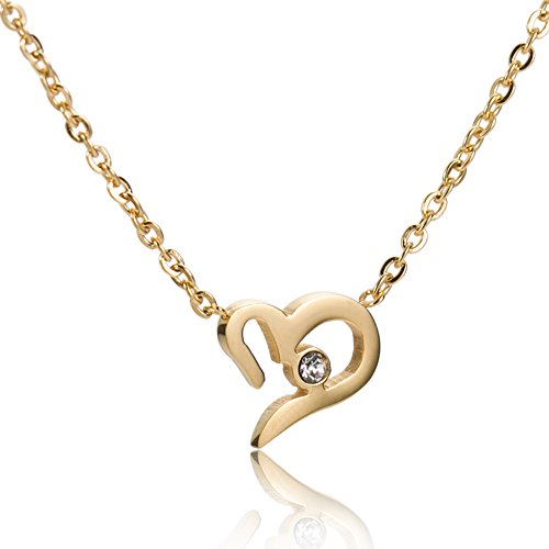 Stainless Steel Cursive Love Pendant Necklace (Gold Plated) - 3