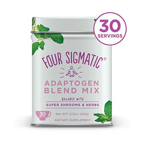 Four Sigmatic Adaptogen Blend - Ashwagandha, Reishi, Cordyceps, Ginger, Ginseng, Amla, Schisandra, Tulsi - Superfood Mushroom and Adaptogen Powder - Calm, Balance - 60g - 30 servings