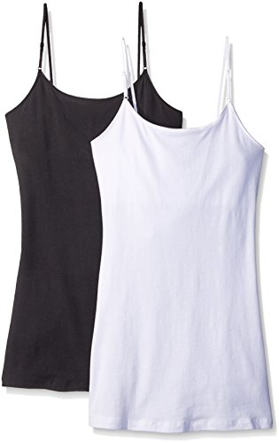PURE STYLE Girlfriends Women's Long Cami Tank with Built in Bra and Adjustable Strap 2-Pack, Black/White, Medium