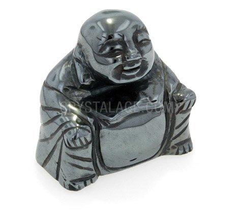 CrystalAge Hematite Sitting Buddha Statue