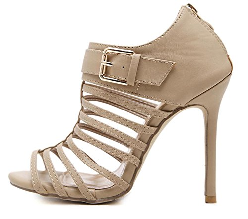 Riemchen Schnalle mit Reißverschluss Kunstleder Sandale Damen Out Cut Aprikosenfarben Hochfrontpumps Aisun xwOBn
