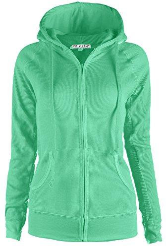 ViiViiKay Womens Casual Warm Thin Thermal Knitted Solid Zip-Up Hoodie Jacket (MEDIUM, (Fleece Thermal Sweatshirt)