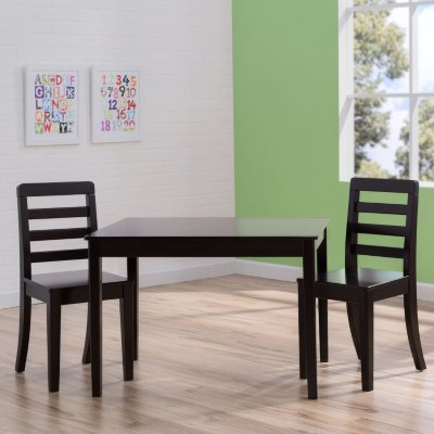 Children's Modern Simplistic Table and Chairs 3-Piece Set (Dark Chocolate Brown) by Delta Children